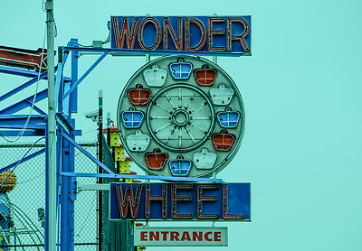The wonder wheel was a popular ferris wheel on the seaside of Coney Island.  The ride and sign still remain, but it's no long...