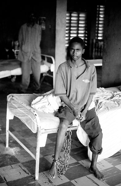 Inmate chained to the bed