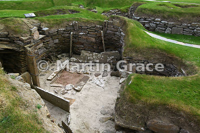 Neolithic house, Skara Brae neolithic village, Bay of Skaill, West Mainland, Orkney Isles, United Kingdom