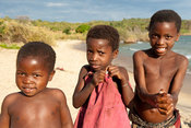 Children on the beach, lake Niassa, Mozambique
