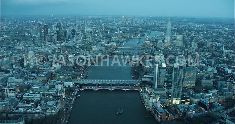London Aerial Footage of River Thames, Blackfriars towards City of London Skyline.