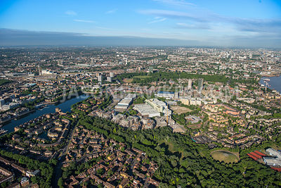 Aerial view of London, Greenland Dock  with Canada Water.