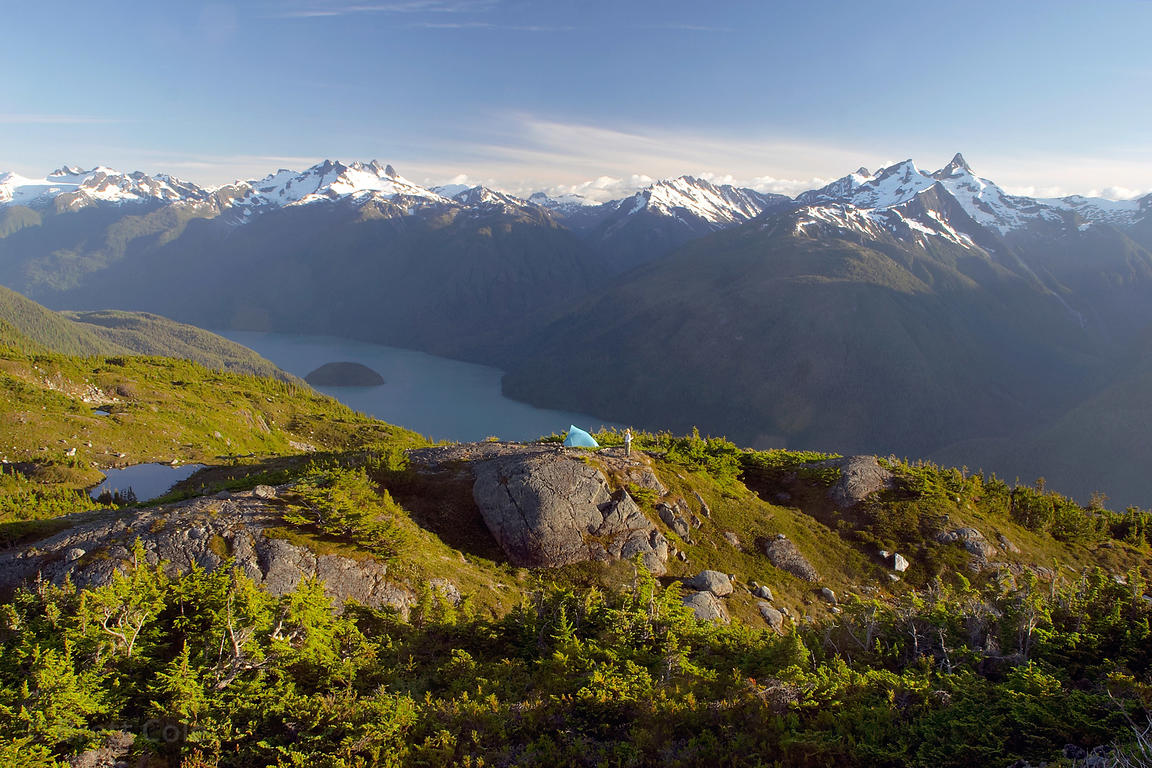 A fine campsite near Mount Gurr Lake, looking south into the high peaks of the Great Bear Rainforest, British Columbia