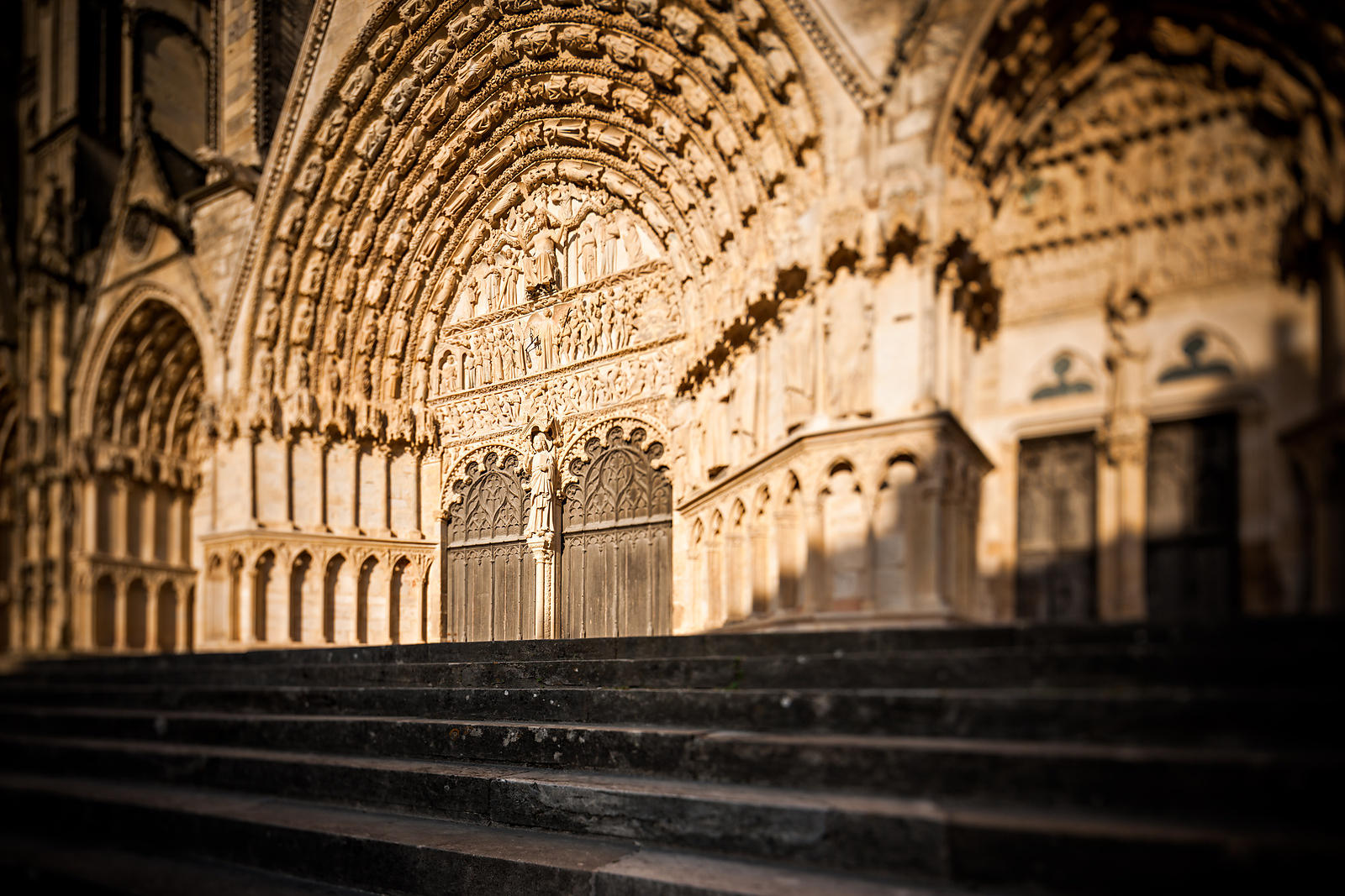 Central portal stairs of Bourges cathedral