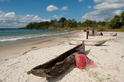 Dugout canoes lying on the beach, Chintheche, Malawi