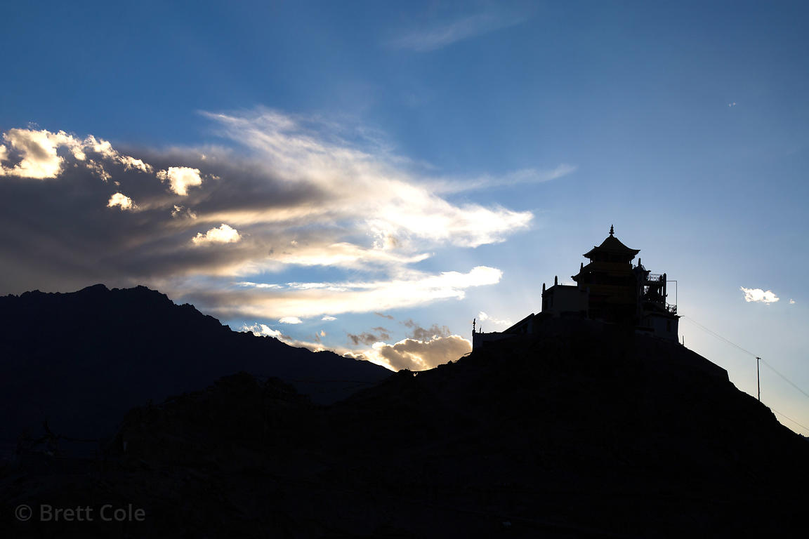 Silhouette of a monastery at dusk, Leh, Ladakh, India