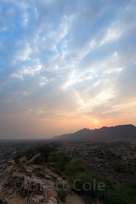 Sunset over the Thar Desert from a temple above Tilora village, Rajasthan, India