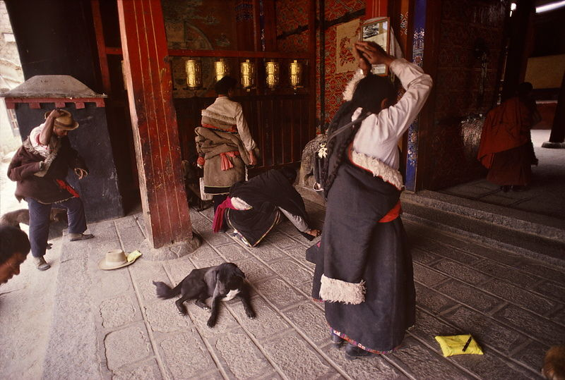 Pilgrims at entrance, Samye Monastery.