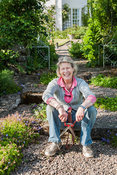 Ginny Fairfax, owner and creator of the garden at Mindrum, nr Cornhill on Tweed, Northumberland, UK