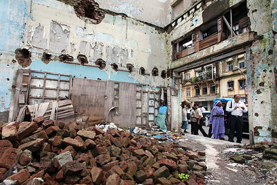 Decrepit courtyard near Chowpatty Beach, Mumbai, India.