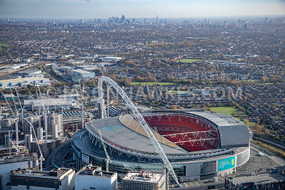 aerial view of Wembley Park and Wembley Stadium, Brent. England.