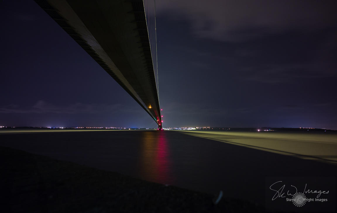 The Humber Bridge and River Humber at night - East Yorkshire, United Kingdom
