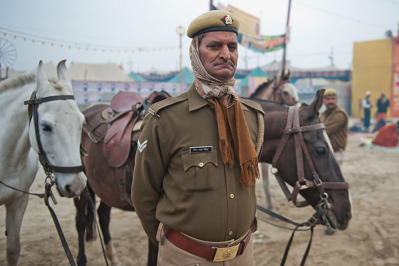 This portrait of a police personnel was shot at the Kumbh Mela, Allahabad