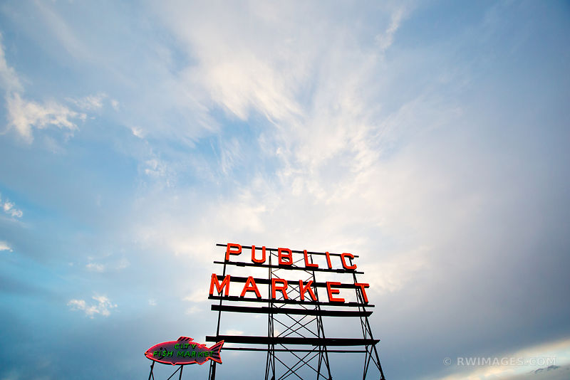 PUBLIC MARKET CITY FISH MARKET NEON SIGN SEATTLE COLOR