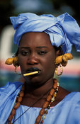 Wolof woman wearing a traditional blue dress, Banjul, the Gambia