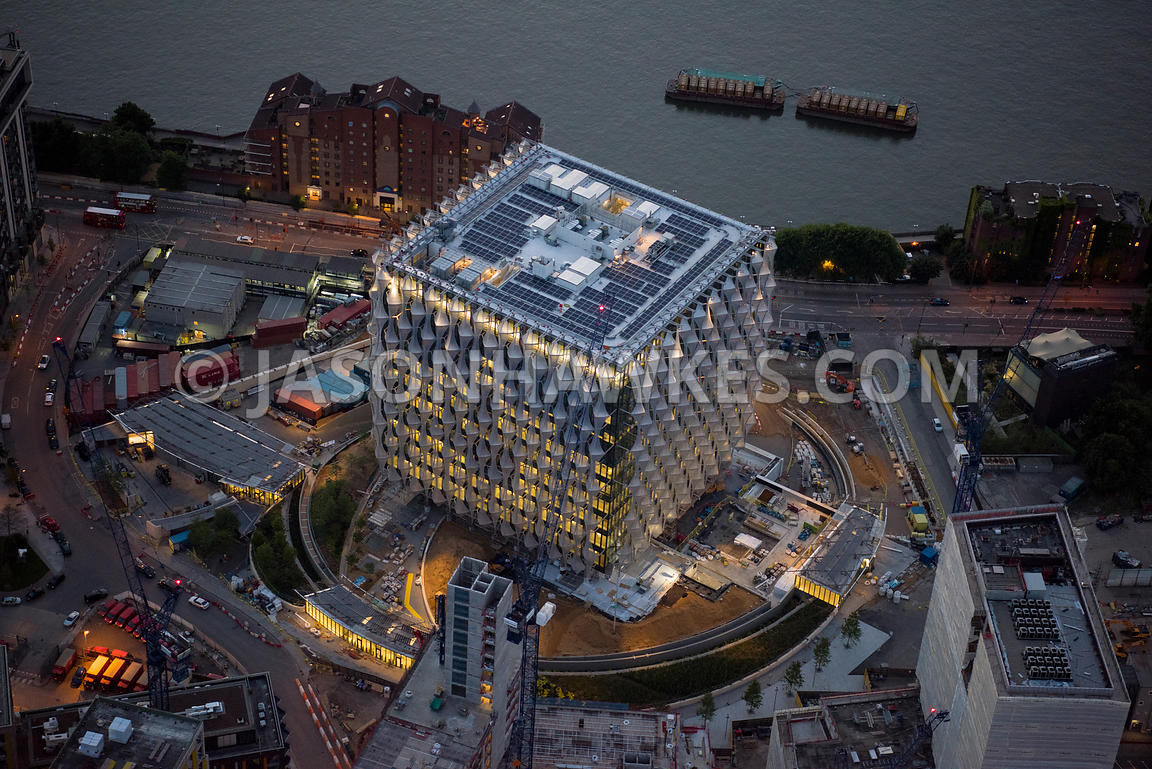 Aerial view of London, Nine Elms redevelopment and regeneration at night.
