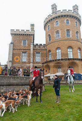 Belvoir Huntsman John Holliday with the hounds in front of Belvoir Castle