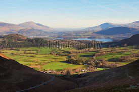 Views of Keswick, Derwent Water and Blencathra in the English Lake District, UK.