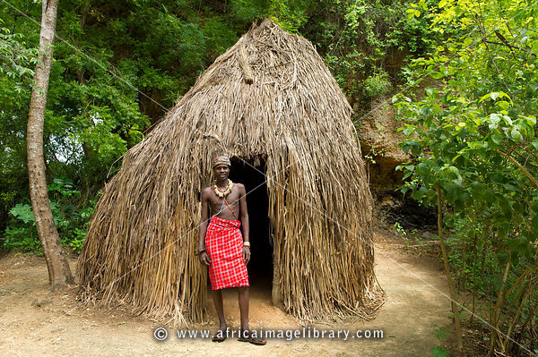 Elmolo man at his hut, Ngomongo Village, Kenya
