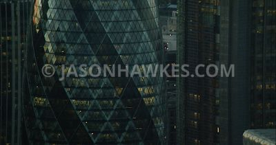 London Aerial Footage of 30 St Mary's Axe and City of London.