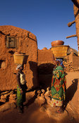 alley between granaries, Songo, Dogon Country, Mali