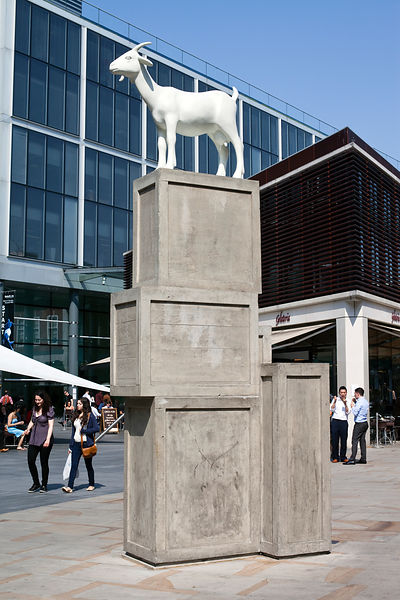 UK - London - A modernist sculpture of a goat outside Spitalfields Market
