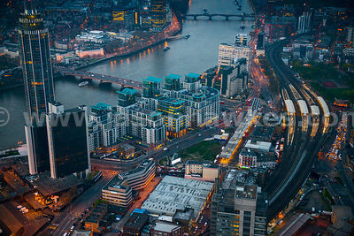 Aerial view of Vauxhall Station at dusk, London