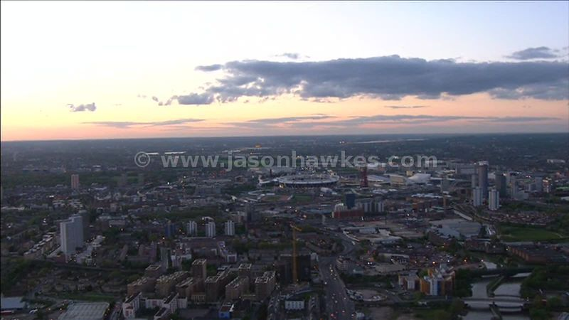 Aerial footage around the Olympic Park, Stratford, London, England, UK