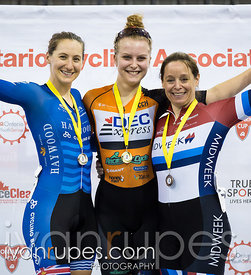 Women Keirin Podium. 2016/2017 Track O-Cup #3/Eastern Track Challenge, Mattamy National Cycling Centre, Milton, On, February 12, 2017Centre, Milton, On, February 12, 2017