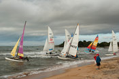 Yachts taking off during the yearly Yachting Marathon, Nkhotakota, Malawi