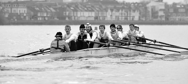 The University and Cambridge University Boat Club Trial Eights from the Thames Rowing Club.