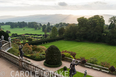 View from the Top Terrace at Powis Castle Gardens giving views across the Great Lawn and the Formal and Fountain Gardens to s...
