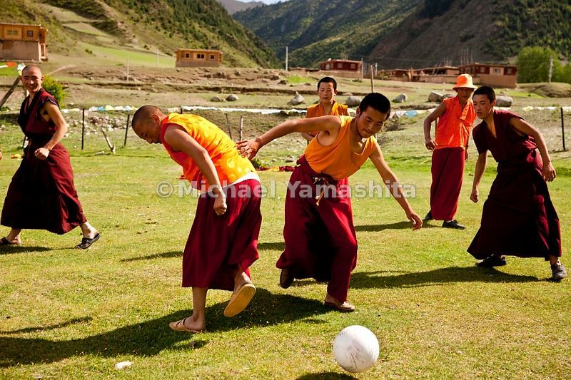 Dzongsar Monastery monks at play. Dzongsar located 120km south of Dege. Today is the last day of 3 day holiday and all come o...