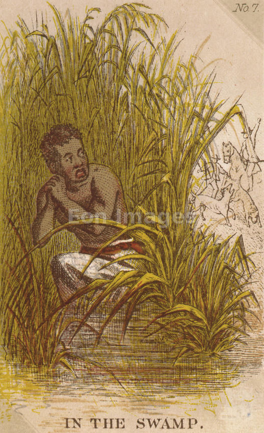 Card depicting runaway slave