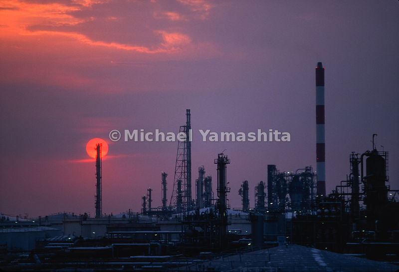 Shell Oil Refinery. .Shell's biggest world wide and largest in South East Asia. Oil comes from the Persian Gulf, is refined a...