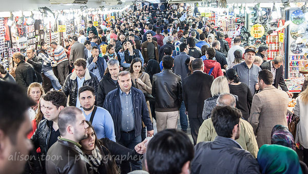 Crowd in underpass, Galata Bridge, Istanbul