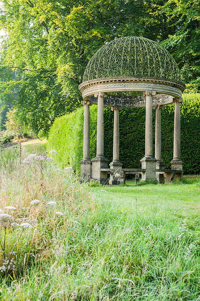 Ionic Tempietto, a small circular temple, at the head of the Long Pond, contains a small circular pond. Forde Abbey, nr Chard...