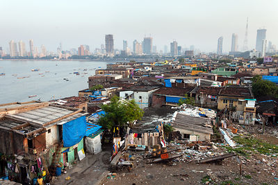 View of Worli with the Mumbai skyline in the distance, Mumbai, India.
