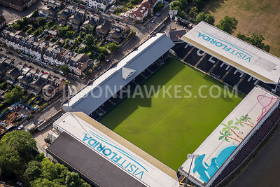 Aerial view of London, Craven Cottage football ground.