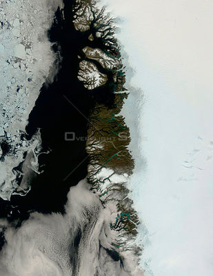 EARTH Greenland Ice Cap -- Jun 2004 -- What might at first be mistaken for a series of images showing the approach of summer ...