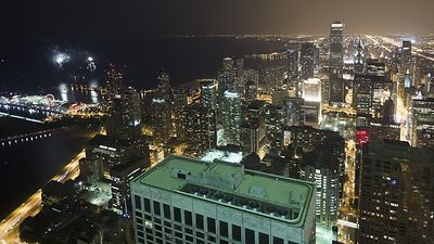 Bird's Eye: Navy Pier Fireworks, Lakeshore Drive, Downtown & Southside, Chicago At Night