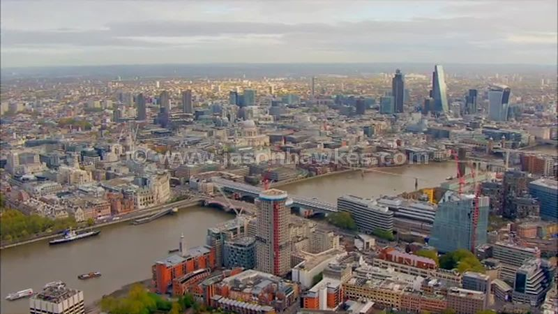 Aerial footage of Blackfriars and the City, London