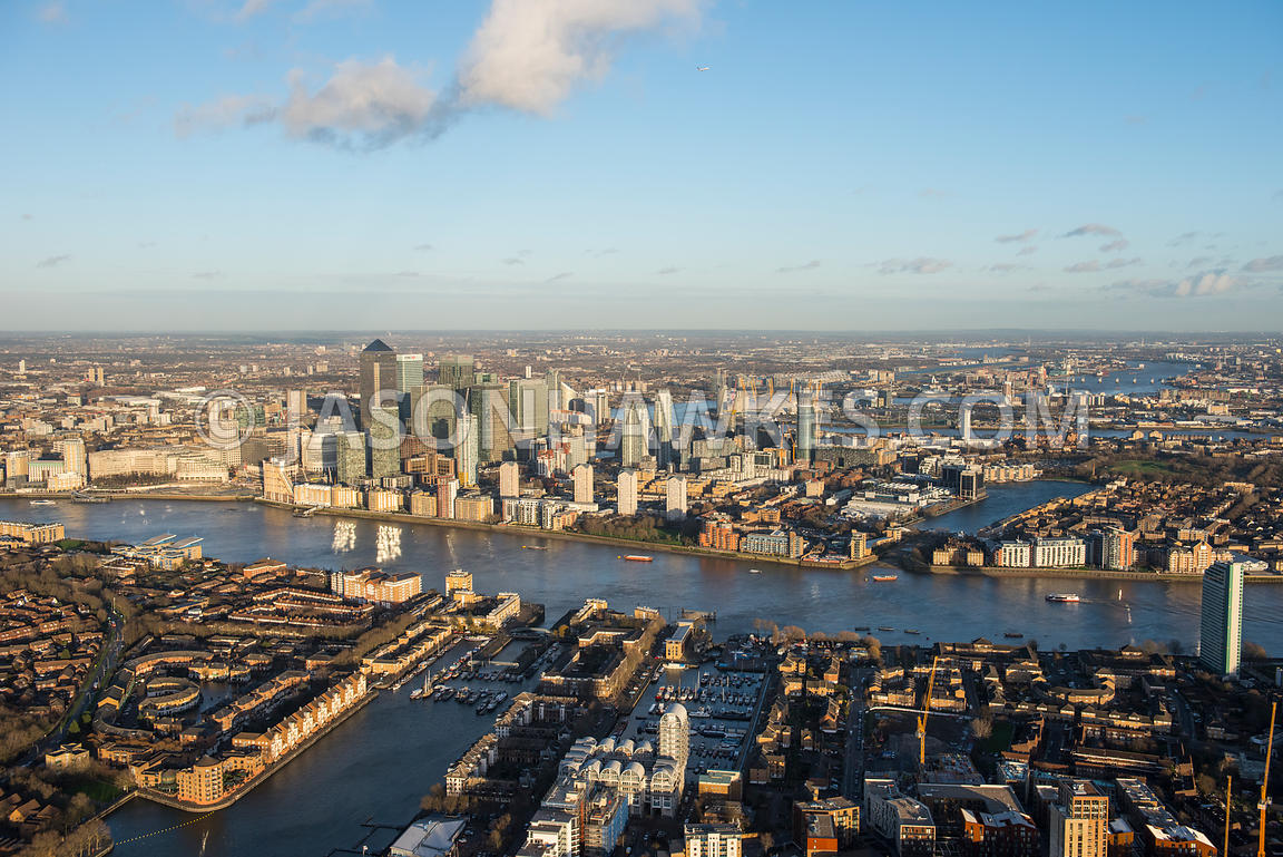 Aerial view from Rotherihite to Canary Wharf, London