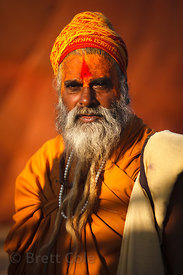A Sadhu (holy man) at sunset in Pushkar, Rajasthan, India