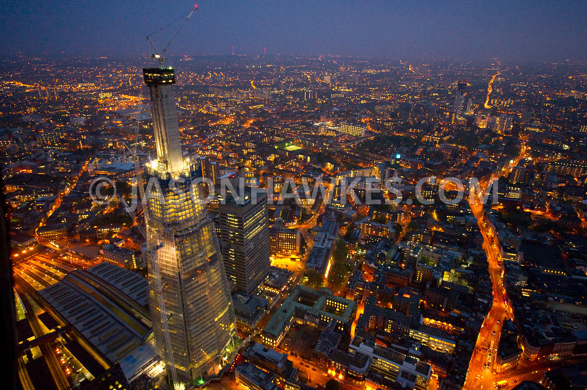 Construction of The Shard at night, South London