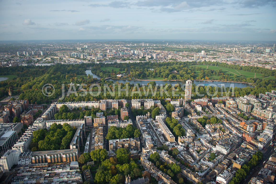 Aerial view of Hyde Park and Kensington Gore, London