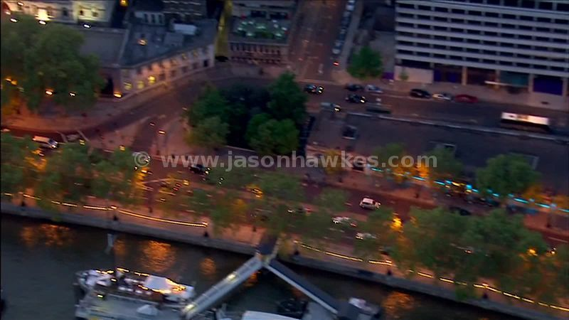 Aerial footage of Victoria Embankment, London