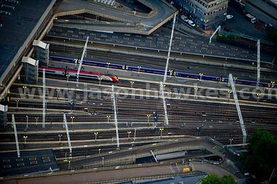 Aerial view over Euston Station, London