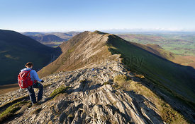 A female hiker walking along a rocky ridge from Hopegill Head towards Whiteside on a sunny day in the English Lake District, UK.