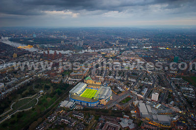 Aerial view of Stamford Bridge, Chelsea, London, UK.
